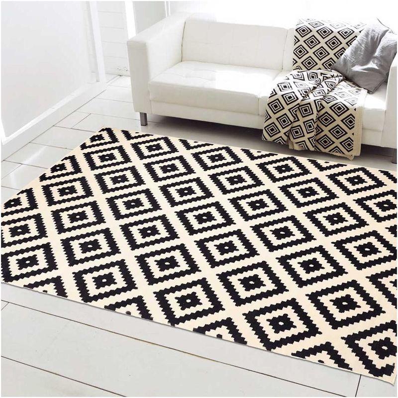un amour de tapis petit tapis entree interieur tapis salon moderne design scandinave berbere geometrique tapis noir creme 60x110 cm 140x200