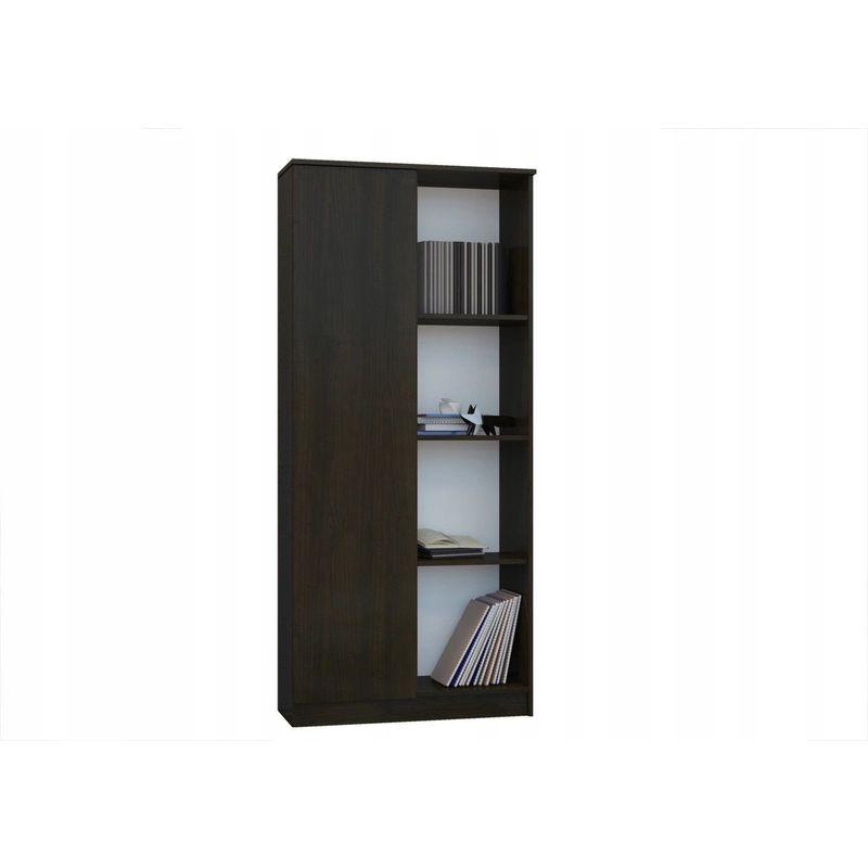 hucoco skopje bibliotheque hyper tendance salon bureau sejour 80x33x180 cm meuble moderne rangement livres 4 niches etageres wenge wenge