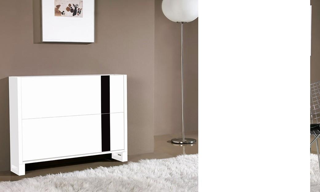 meuble a chaussures design laque blanc et noir elias