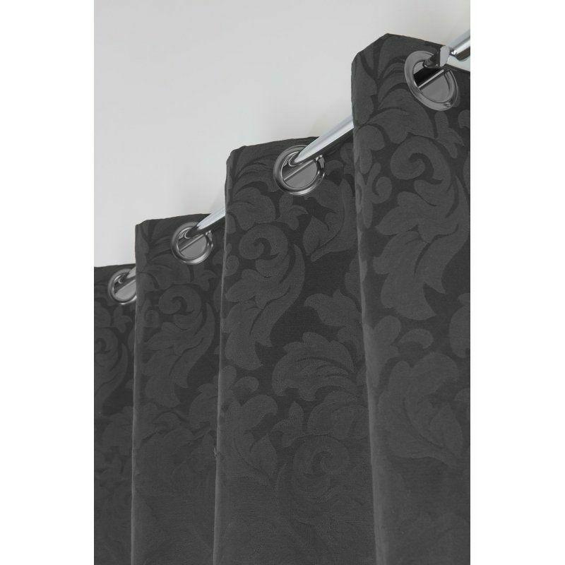 rideau jacquard a oeillets 135 x 260 cm motif baroque fleurs de lys style empire noir marron noir noir rideaudiscount