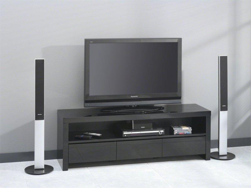 black meuble tv avec 3 tiroirs laque