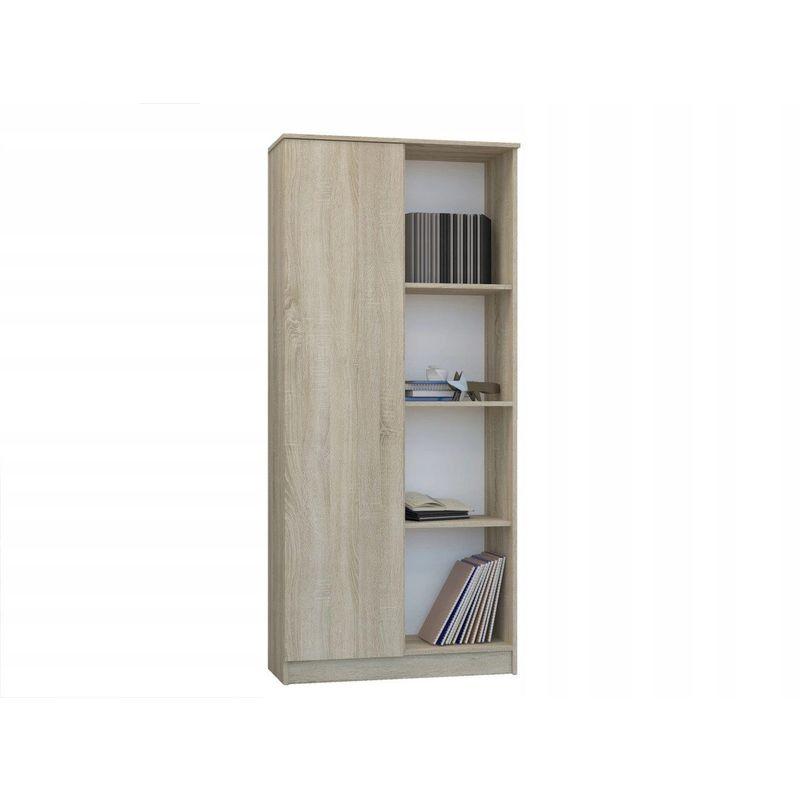 skopje bibliotheque contemporaine salon bureau sejour 80x33x180 cm meuble rangement moderne livres deco 4 etageres sonoma