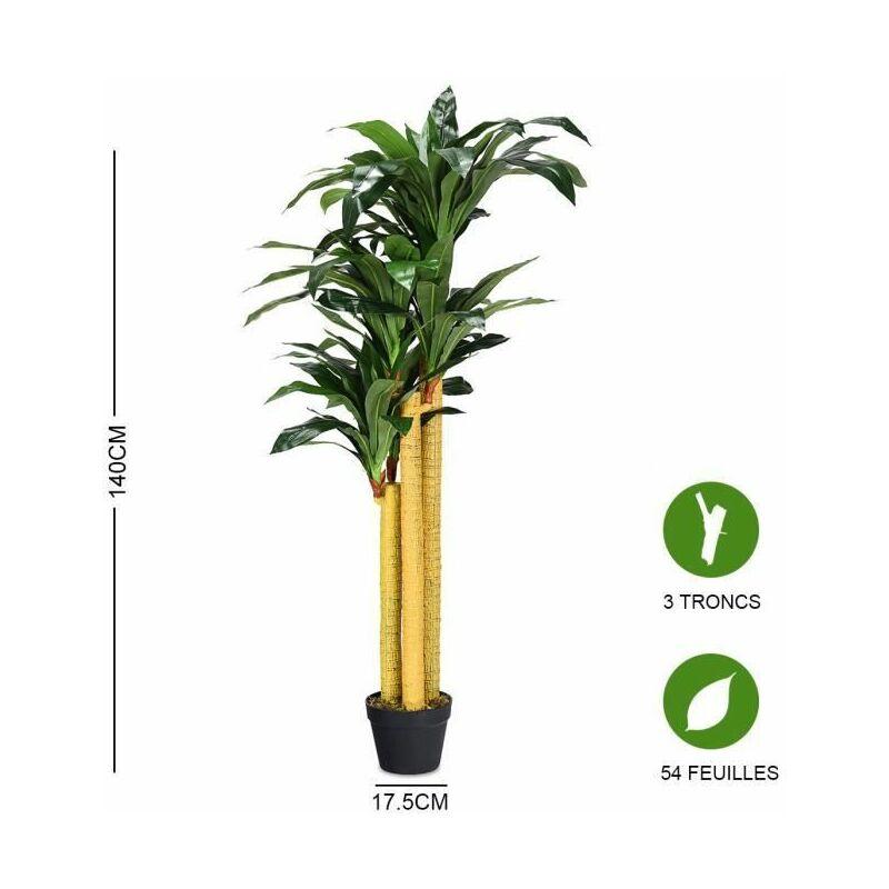 costway plante artificielle faux arbre 140cm avec pot decoration interieur ou exterieur dracena vert
