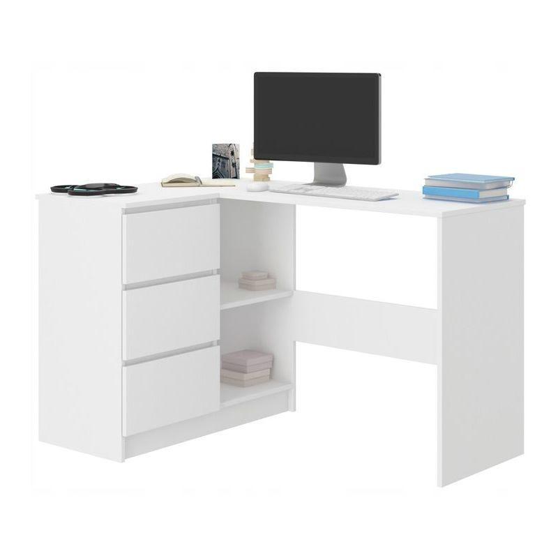 hucoco kian b bureau d angle rangements 3 tiroirs 112x87x76 cm table d ordinateur forme de l table de travail blanc
