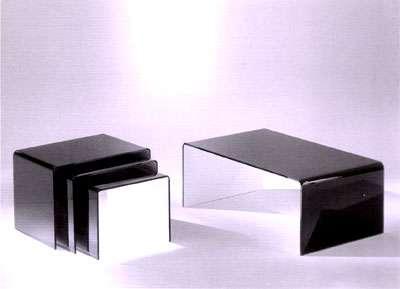table basse fixe contemporain pont en verre noir