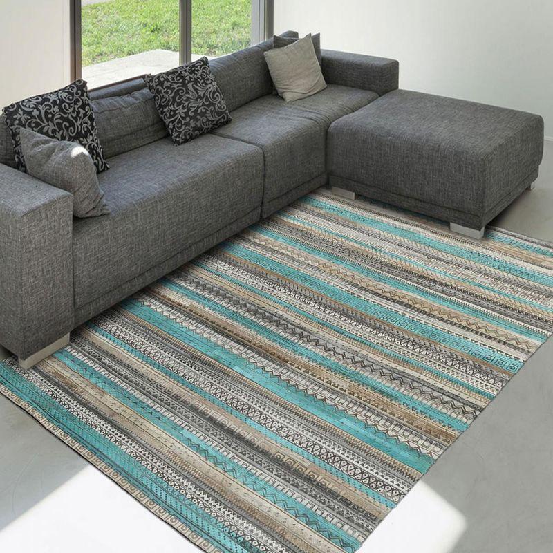tapis moderne 120x170 cm rectangulaire zaira bleu salon assemble cousu a la main unamourdetapis