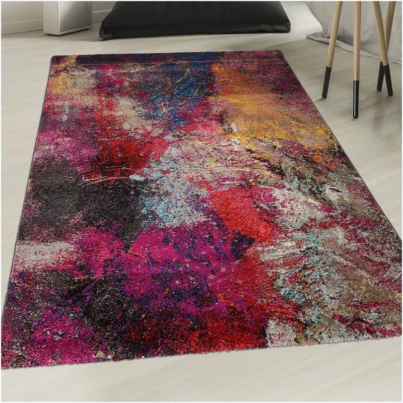 un amour de tapis petit tapis entree interieur tapis moderne pour salon design abstrait multicolore 60x110 cm