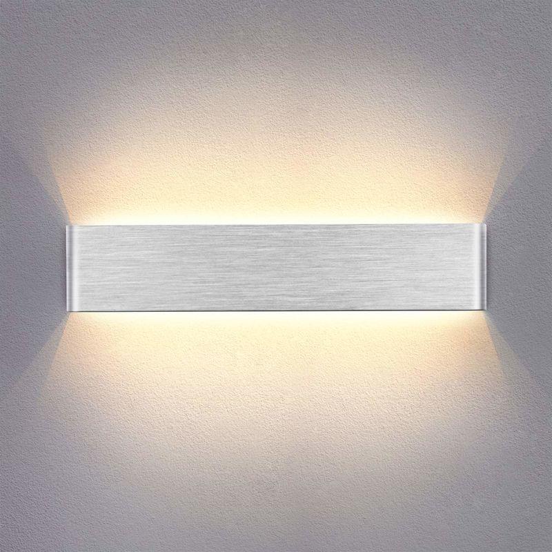 14w led applique murale interieur 40cm lampe murale blanc chaud design simple argent gris brosse pour chambre salon salle de bain