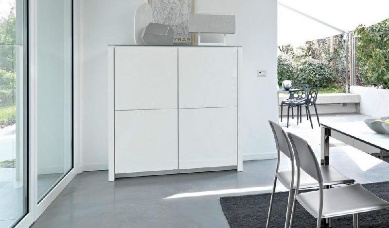 calligaris buffet haut mag 4 portes blanc avec plateau en verre extra blanc