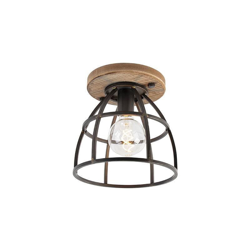plafonnier industriel vintage noir avec bois arthur qazqa industriel vintage luminaire interieur rond