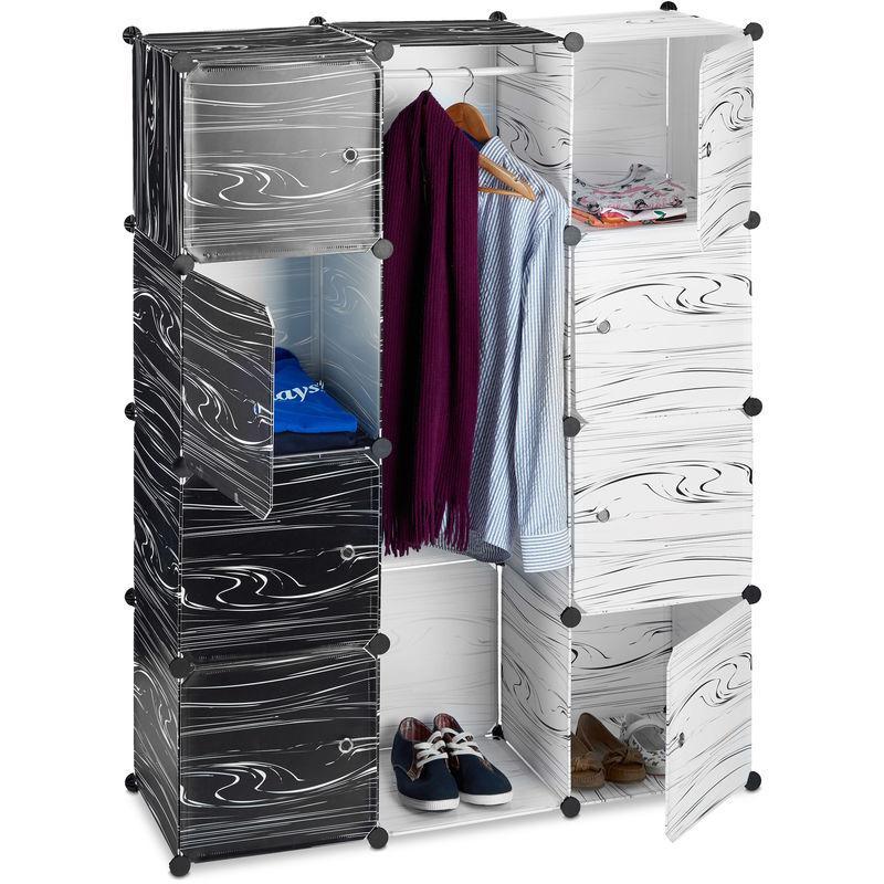 armoire penderie meuble cubes rangement 9 casiers plastique modulable diy 145 x 110 x 37 cm relaxdays