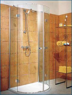 cabine de douche demi lune 4 parties