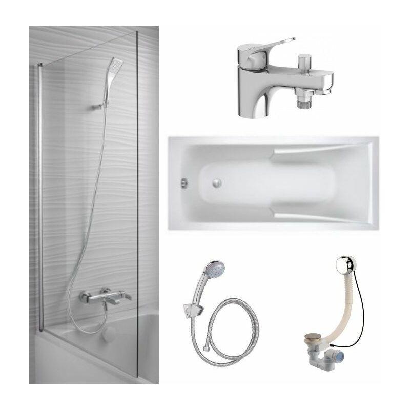 jacob delafon lot baignoire acrylique mitigeur bain douche monotrou pare bain et accessoires 170 x 75