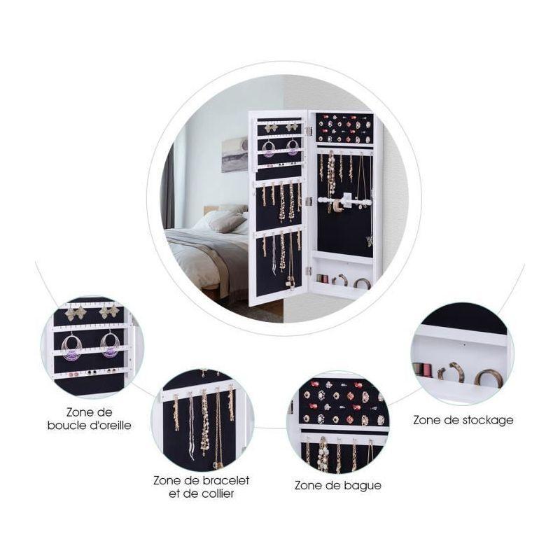 armoire a bijoux avec miroir murale cabinet de bijoux stockage blanc costway