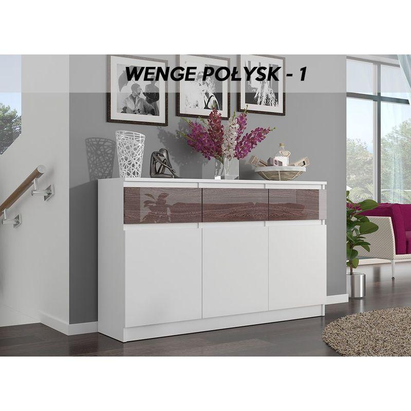 hucoco riga 1 commode contemporaine chambre salon bureau laquee 40x120x98 cm 3 tiroirs meuble de rangement buffet sejour blanc wenge