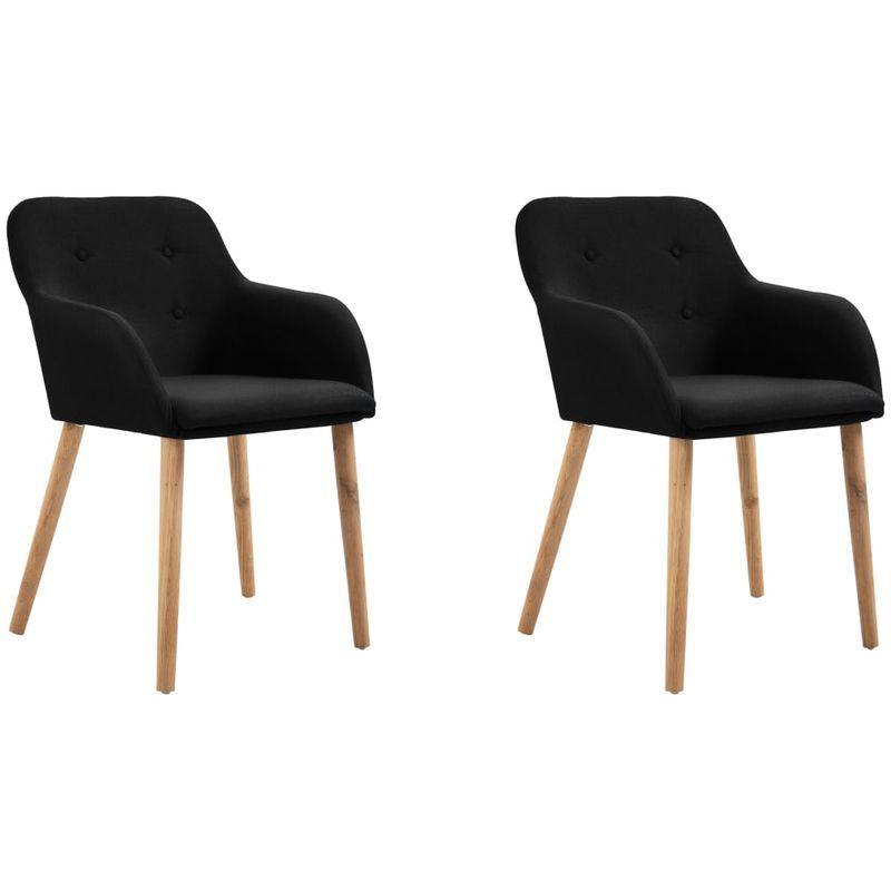 2 pcs chaises de salle a manger noir tissu et chene massif asupermall