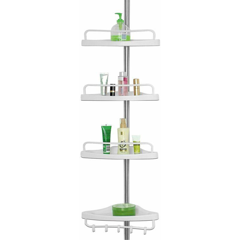 etagere d angle telescopique 4 tablettes blanc 155 a 304 cm avec porte serviette salle de bain douche etagere reglable deuba