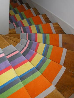 passage pour escalier et couloir rayures