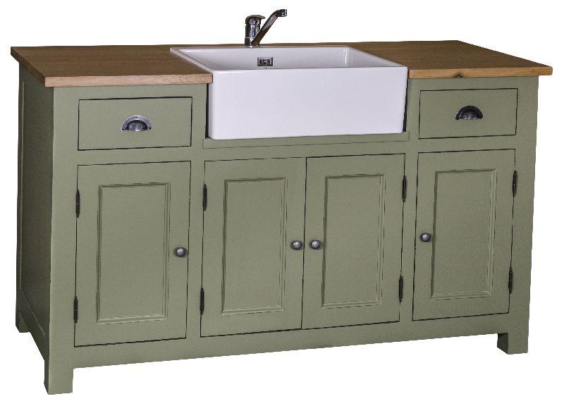 meuble sous evier 4 portes 3 etageres 2 tiroirs plateau chene 155x65x90 cm pour evier de 57x43x20 cm