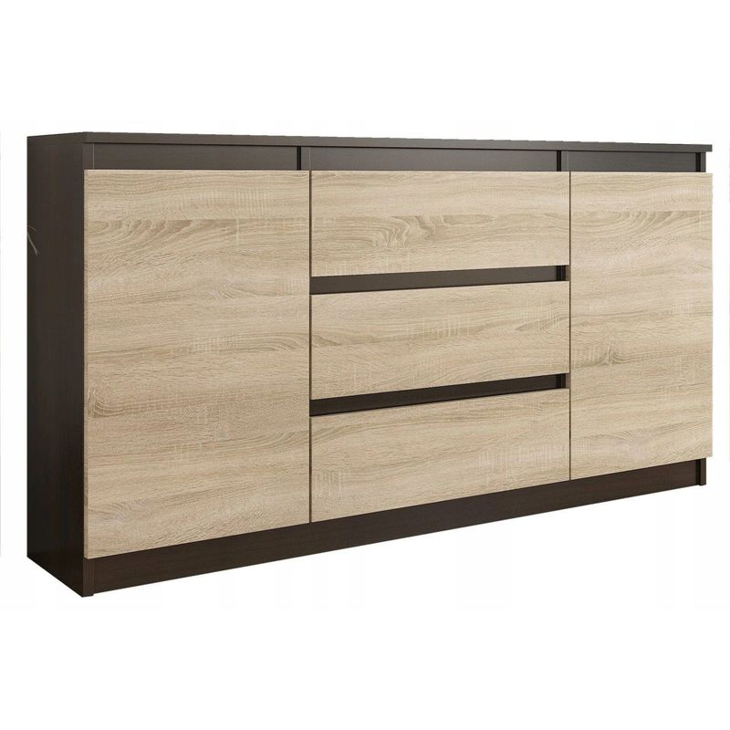 albi commode style contemporaine scandinave 140x40x76 cm meuble de rangement chambre salon bureau 3 tiroirs 2 niches wenge sonoma