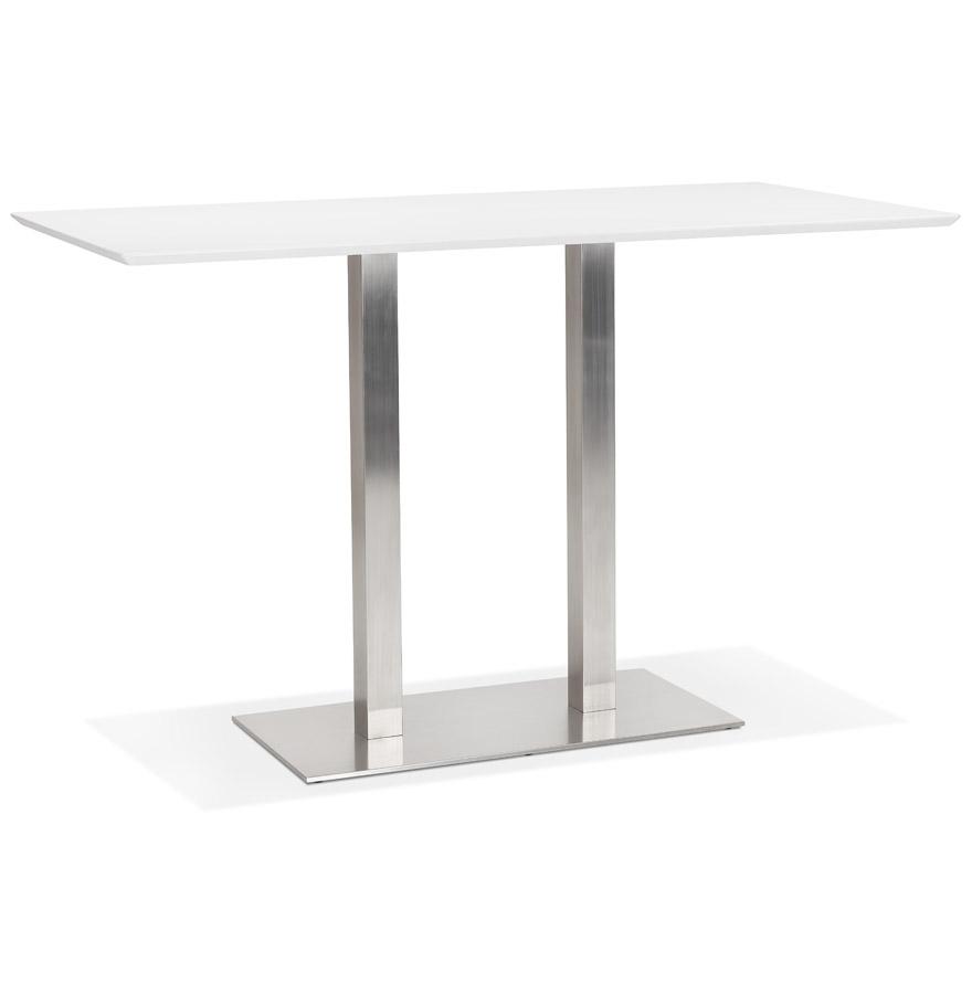 table haute design mambo bar blanche avec pied en metal brosse 180x90 cm