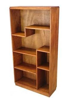 meuble bibliotheque etagere en chene clair massif 1950