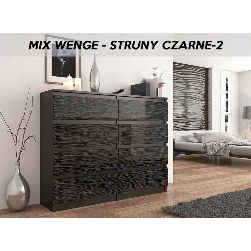 reine 2w commode contemporaine chambre salon bureau 120x40x98cm 8 tiroirs meuble de rangement scandinave dressing wenge noir