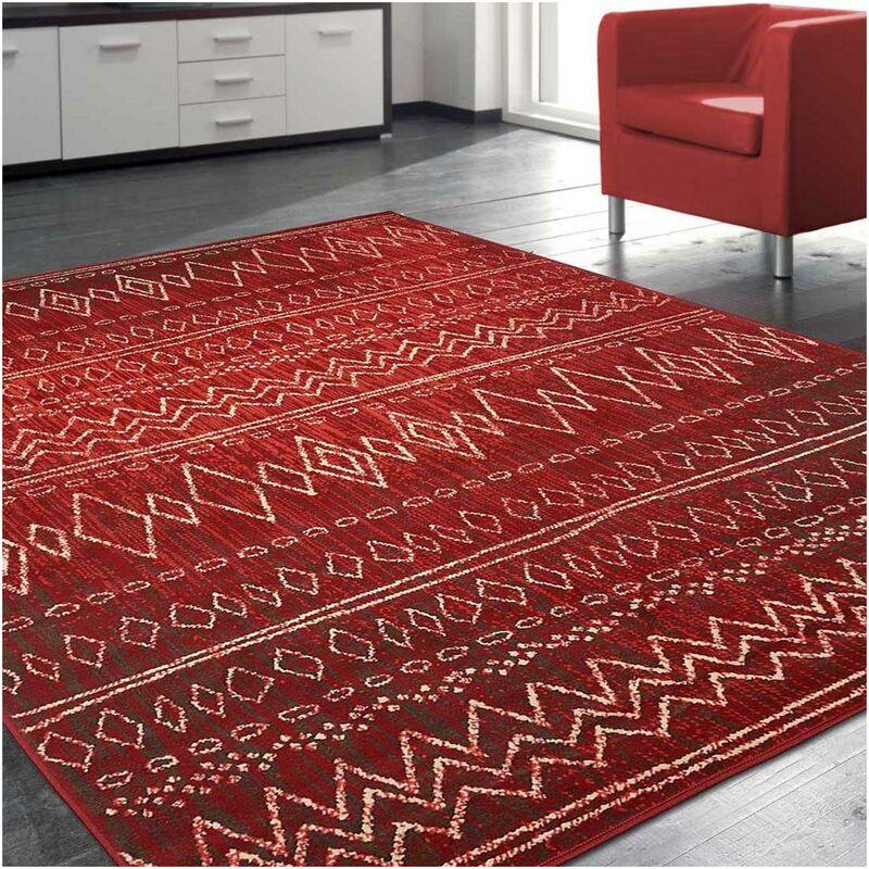 un amour de tapis tapis moderne pour salon design scandinave berbere ethnique petit tapis salon rouge 80x150 cm unamourdetapis