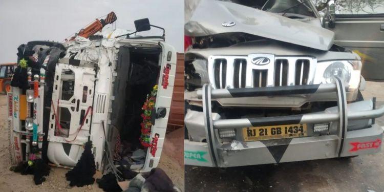 Accident, Road Accident , Bolero Jeep Truck accident, Bolero Jeep, Accident near Bikaner, Bolero Jeep, Bikaner to Suratgarh Highway, Accident News, Bikaner News, Hindi News Bikaner,