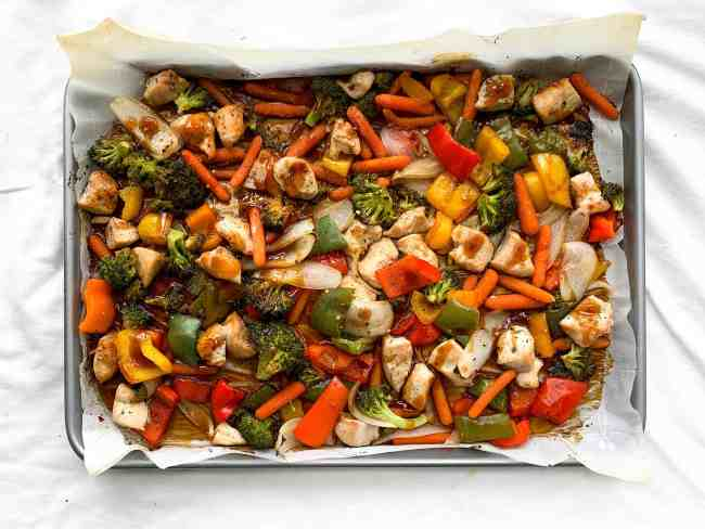 Sheet Pan Honey Garlic Chicken and Veggies   Easy and Healthy Dinner Idea