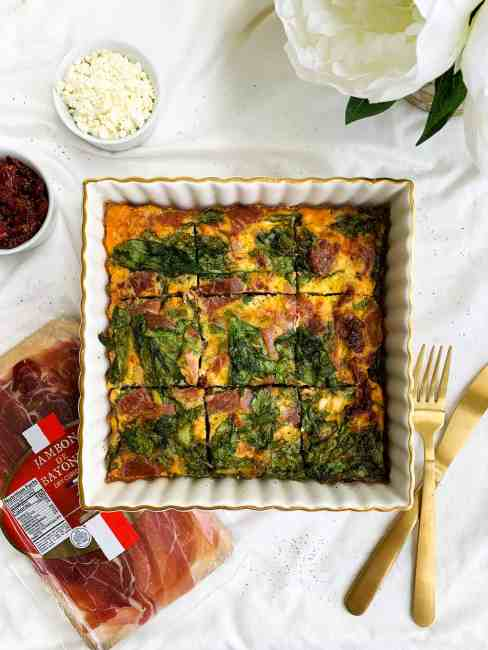 Healthy High-Protein Egg Bake Casserole with Ham, Feta, Spinach and Sun-dried Tomatoes