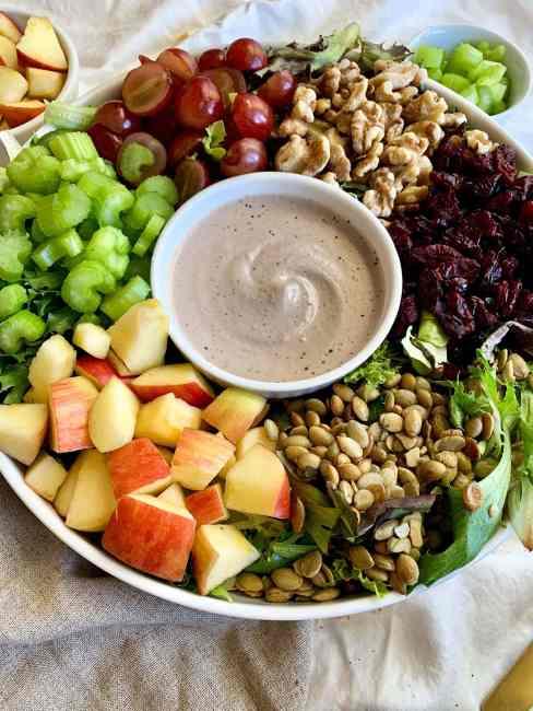 Simple Harvest Salad with a Vegan and Gluten-Free Creamy Walnut Vinaigrette