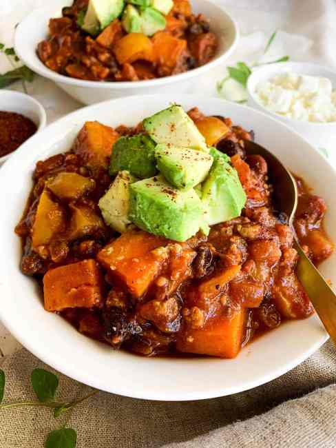 Healthy and Easy Turkey Sweet Potato Chili made in the Instant Pot, Slow Cooker, or Stovetop
