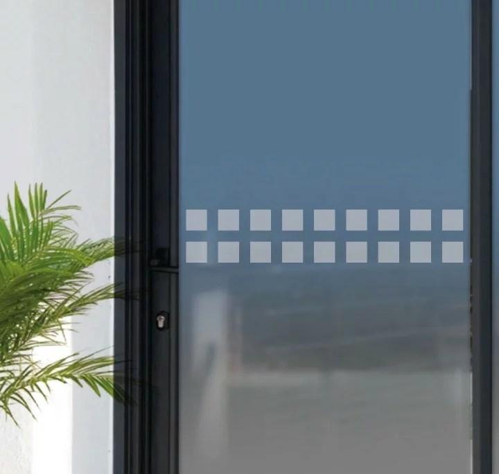 stickers pour baies vitrees frise de securite anti collision autocollant adhesif depoli formes carrees ref 290970a