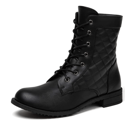 katliu Military Combat Boots Lace Up Ankle Boots