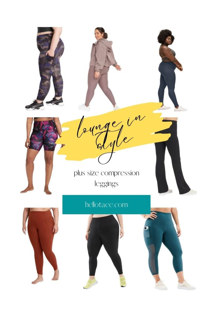 A collage of plus size compression leggings.