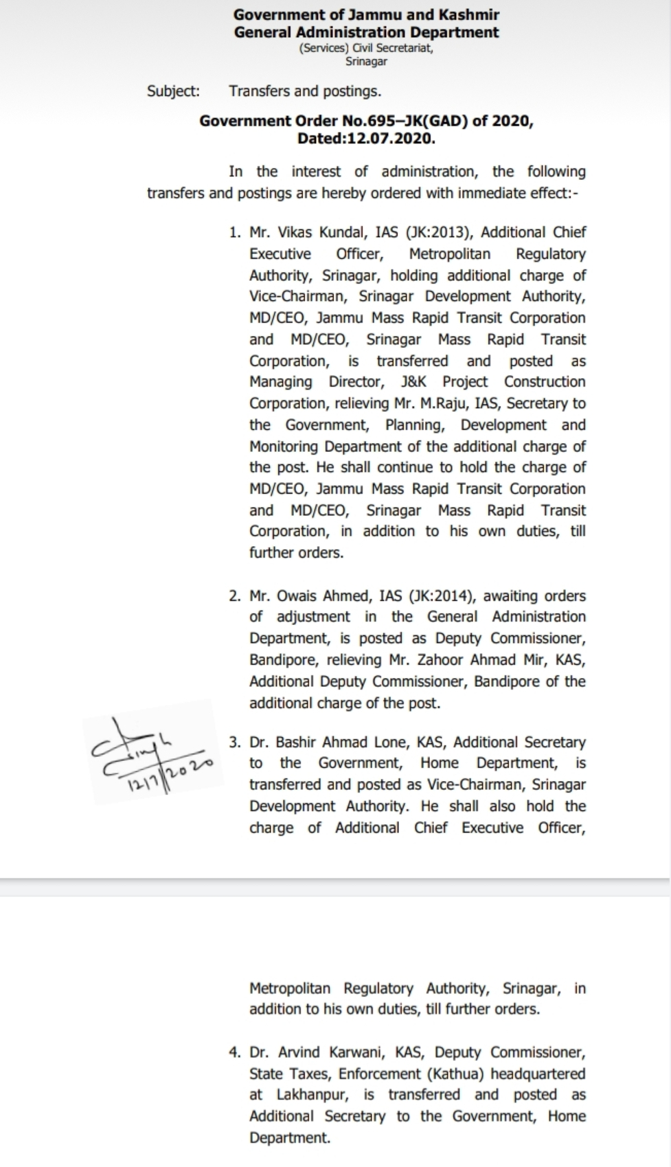 Transfer of IAS and KAS in Jammu & Kashmir Administration 2