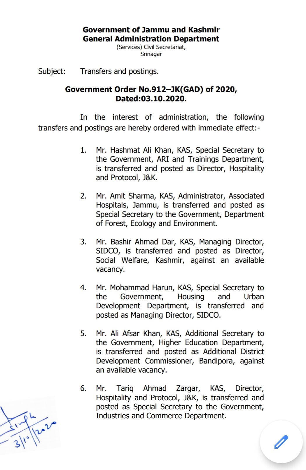 Jammu & Kashmir: Transfers and postings in administration 4