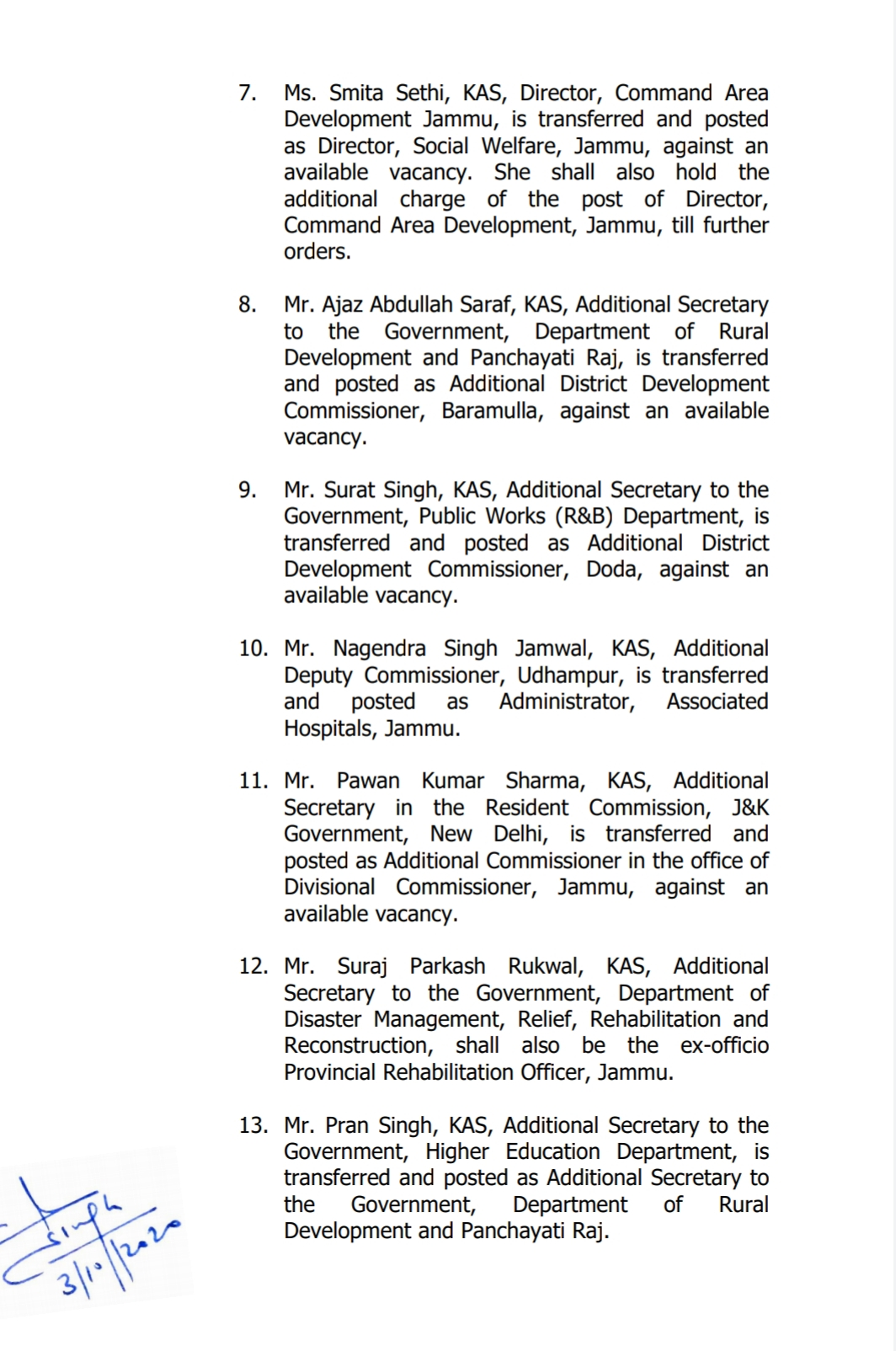 Jammu & Kashmir: Transfers and postings in administration 5