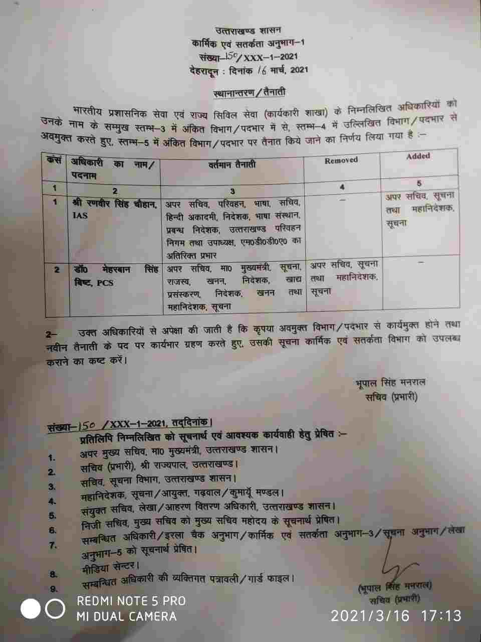 मुख्यमंत्री ने सौंपी आईएएस रणवीर सिंह चौहान को अहम जिम्मेदारी 2