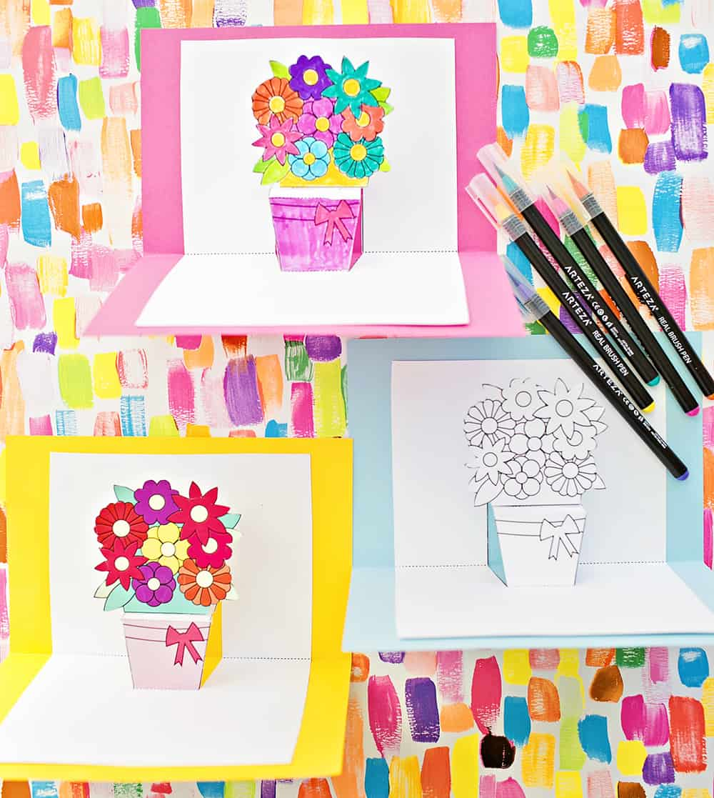Hello Wonderful HOW TO MAKE POP UP FLOWER CARDS WITH FREE PRINTABLES
