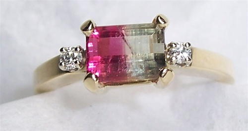 Womens Watermelon Tourmaline Ring