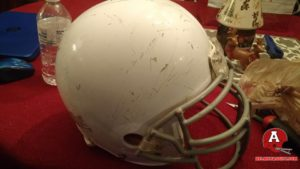 Before Shot Of Custom Raiders Helmet. Heavily Damaged.