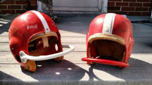 Two 1950s youth helmets. Found at a flea market.