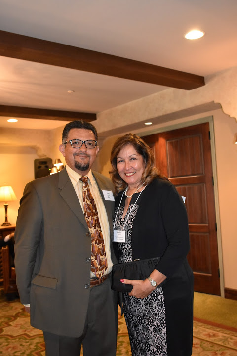 Evelyn Salinas, H.E.L.P. Board member and South Bay branch manager of HomeStreet Bank, a Sapphire Sponsor; with Tony Aguilar, D.J.