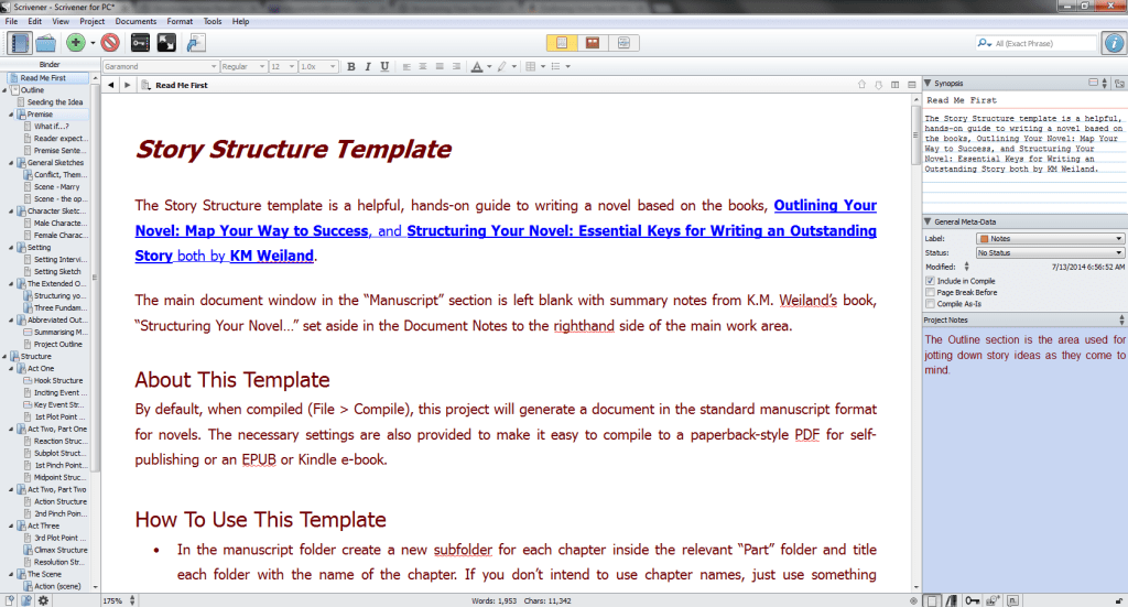 Outlining Your Novel and Structuring Your Novel Scrivener Template