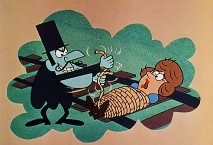 Snidely Whiplash Tying Nell to the Railroad Tracks in Dudley Do-Right