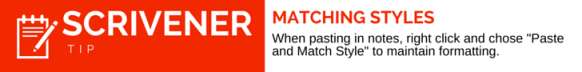 Scrivener Tip Matching Styles