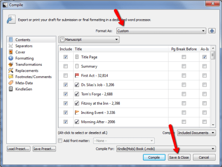 Custom Compilation Settings in Scrivener