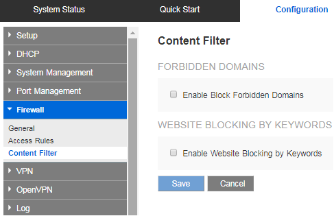 Block websites with Content filter